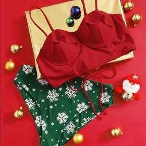 🆕Winter holiday underwire top high waist bikini